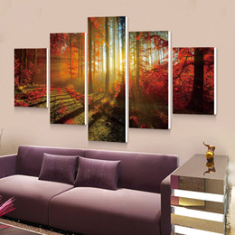 $enCountryForm.capitalKeyWord Australia - Forest Painting 5p Canvas Wall Art Picture Home Decoration Living Room Canvas Print Modern Painting--Large Canvas Art Cheap
