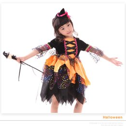 spring carnival 2018 - Halloween cosplay dress Girls tutu Witch dresses+Hats set Shining stamping bling Holiday performance clothing high quali