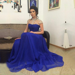 wedding formal wear for mother UK - Sparkly Beaded High Neck Mother Of Bride Dresses 2017 Cap Sleeve Royal Blue Chiffon A Line Elegant Mother's Dresses For Wedding Formal Wear