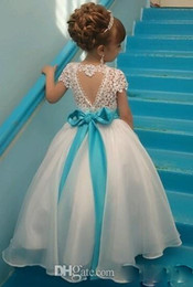 Black girl princess wedding dress online shopping - Lace Backless Cheap Flower Girl Dresses Cap Sleeves Baby Girl Birthday Party Christmas Communion Dresses Children Girl Party Dresses