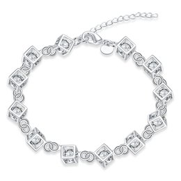 $enCountryForm.capitalKeyWord NZ - Rhinestone Crystal Charms Bracelet 925 Sterling Silver Bracelet Silver Plated Crystal Jewelry Rolo Chain Square Accessories Girls Gifts