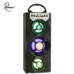 China Wholesale- Redmaine MS-220BT Portable Multifunctional USB AUX Bluetooth Speaker FM Radio Backlight Support 3.5mm Plug Micro SD Card U-disk cheap sd speakers suppliers