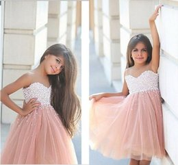 Birthday Dress Size 12 Girls Canada - 2016 Champagne Girls Pageant Dresses Tulle Jewel Neck Pearl Beaded Knee Length Princess Size 13 Party Children Birthday Flower Girl Gowns