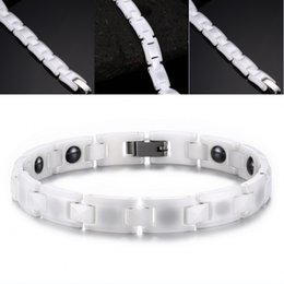18cm Comprimento Moda Branco Cerâmica Sport Charm Braceletes para mulheres Bracelete de energia magnética saudável Bracelete de hematite Presente de Natal B846S