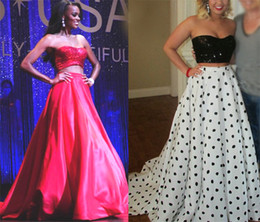Sexy Crop Top Two Pieces Prom Dresses 2016 Bling Sequins A Line Floor  Length Evening Gowns Black White Red Taffeta Long Party Dress 5511ff7b0237