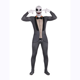 Costume Spandex Gris Pas Cher-Skeleton Gentleman Zentai Suit Vampire Spandex Grey Monster Costume d'Halloween Costume de parc d'attractions