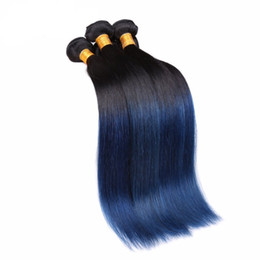 12 inch human hair two tone 2019 - Ombre Hair Extensions Brazilian Malaysian Peruvian Straight Virgin Hair 3 Bundles Two Tone #1B Blue Ombre Human Hair Wea