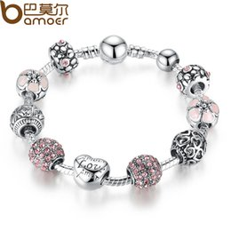 Silver Bangle Gold Ball Canada - Wholesale-BAMOER Antique 925 Silver Charm Fit Pan Bangle & Bracelet with Love and Flower Crystal Ball for Women Wedding PA1455