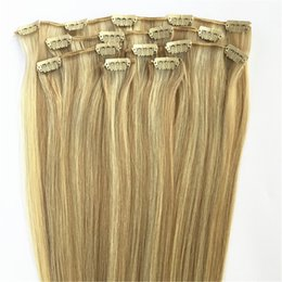 $enCountryForm.capitalKeyWord UK - ELIBESS HAIR -Unprocessed Remy Clip in Highlight Hair Extensions 7pcs set 100g Mix Color 18 613 Blonde Natural Hair Extension