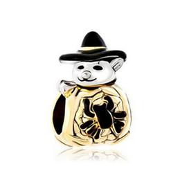 Metal spider charMs online shopping - Halloween Gold Cute Spider Pumpkin Snowman With Classic Black Gentleman Hat bead European Fits Pandora Charm Bracelet