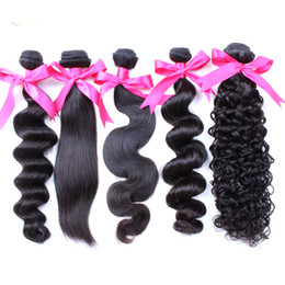 Greatremy® Brazilian Virgin Hair Weft Body Wave Silky Straight Indian Malaysian Peruvian HairExtensions Mink Deep Curly Human HairBundles