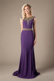 $enCountryForm.capitalKeyWord Canada - Purple Mermaid Long Modest Evening Dresses Elegant Gold Beaed Sweep Train Cheap Formal Evening Party Dresses Prom Dresses For Teens Girls