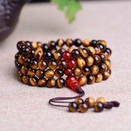 Ingrosso 2016 Cheap occhio di tigre naturale Krocodylite crocidolite cristallo più perle braccialetto rotondo per fortunato Buddha fatto a mano jewerly regalo