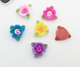 Discount roses for hair - 100pcs 18mm Resin Rose Flower wiht Leaf Bead Beads Button Flat back For Scrapbooking Craft DIY Hair Clip Accessories