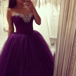 Robe Sweetheart Sweet Sweet Sweetheart Pas Cher-Princess 2017 Sweetheart Beaded Purple Quinceanera Robes Robes de bal Sweet 16 Pageant Dress Prom Debutante Robes