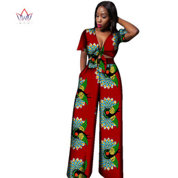 68bd05cdd 2017 African Print Cotton Suit Woman Plus Size 2 Pieces Short Top and Pants  Set African Traditional Dashiki Clothing BRW WY1861