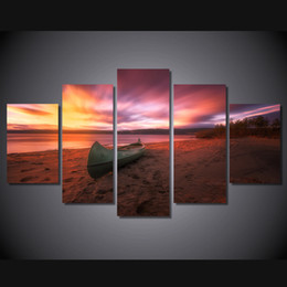 Canvas Prints Free Shipping Australia - 5 Pcs Set Framed Printed canoe sunset beach norway Painting Canvas Print room decor print poster picture canvas Free shipping ny-4520