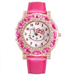 690083cd6e4d Moda Mujer Chica Hello Kitty KT estilo gato Gran cristal correa de cuero  Reloj de pulsera de cuarzo
