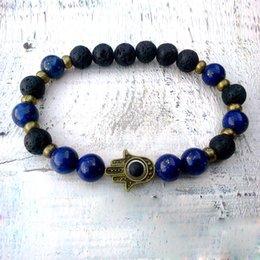 30582d250d89 SN0295 Fashion Design Jewelry Lapis Lazuli Hamsa pulsera Lava Hamsa pulsera  Lapis y Lava Man Good Luck pulsera