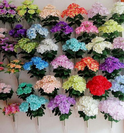 wholesale fake flowers shipped free Australia - Artificial Craft Hydrangea Bouquet 7 heads 42cm long for Home Party Wedding Decoration Fake Bridal Silk Flowers free shipping SF0501