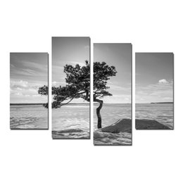 tree painting living room UK - Black and White Artwork Trees and Stones Canvas Prints Wall Art Modern Seascape Paintings Giclee Artwork for Living Room and Bedroom