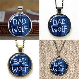 Bad alloys online shopping - 10pcs Bad Wolf Tardis Doctor Who glass Dome Pendant Necklace keyring bookmark cufflink earring bracelet