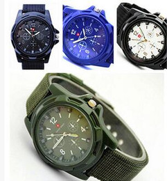 China 2016 Luxury Analog Swiss Gemius Army Watch Cloth Fabric Fashion Sport Military Style Wristwatches for Geneva quartz Men Watches suppliers