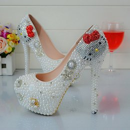 524d0a04c Kitty Heels Shoes Canada - Cartoon Hell Kitty Rhinestone Wedding Shoes  White Pearl Spring Autumn Lady
