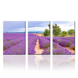 $enCountryForm.capitalKeyWord UK - Lavender Field Canvas Prints Wall Art Landscape Photo Printing Canvas Picture Modern Home Decor Stretched Gallery Canvas Wraps Giclee Print