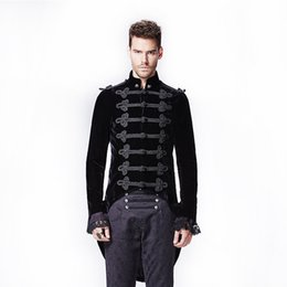 Veste À Queue Pas Cher-Grossiste- Gothique Palais Couture Asymétrique Queue D'aronde Manteau Punk Homme Long Manteau Victorien Avec Hirondelle Queue Y-593 Noir Soldat Veste