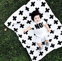 blanket wholesalers Canada - DHL ins Baby Blanket Black White Cute Rabbit Swan Cross Knitted Plaid For Bed Sofa Cobertores Mantas BedSpread Bath Towels Play Mat Gift
