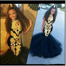 evening gowns for little girls 2019 - Hot 2019 Black Girl Prom Dresses for Women Keyhole Gold Appliques Floor Length Mermaid Evening Dress Dubai Arabic Pagean