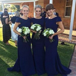 Barato Mangas Da Dama De Honra Da Marinha-Dark Navy Mermaid Long Vestidos de dama de honra 2016 Cap Sleeves Custom Wedding Guest Dresses Vintage Beach Maid of Honor Vestidos Party Prom Dresses