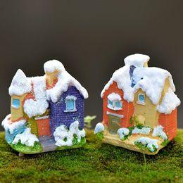 Folk Art Christmas Australia - 2pcs Christmas Snow House Cabin Home Decor Accessories Fairy Garden Miniatures Resin Craft Terrarium Figurines Bonsai Tools Gnomes Landscape
