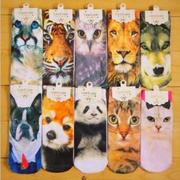 $enCountryForm.capitalKeyWord Canada - 5 pairs  lot 3D stereo cartoon Printed Harajuku animal men women Socks low cut ankle couples Casual Cotton sock