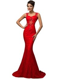 Chinese  Charming sexy red mermaid long lace prom dresses 2019 transparent sequins party dress floor length prom dress cheap for women evening dress manufacturers