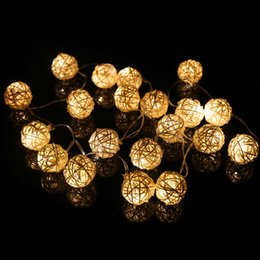 Ball Yard Canada - LED Rattan Ball modeling String light 4m 20leds Sepak takraw led string 110v 220v rgb white warm white for indoor yard decoration