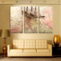 Ship Picture Frames Canada - Modern Art map and ship three panels pictures for home decoration HD canvas painting no frame free shipping