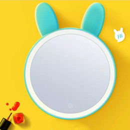 Decorative Makeup Canada - lovely rabbits$ fox ears mirror OT-13 Lady Makeup Cosmetic LED rechargeable touch Mirror Compact led Mirror with storage box free shipping