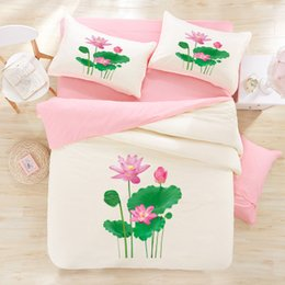 Bedsheet Cotton White Australia - 3D lotus flower bedding Pink Lotus Verdurous Leaves 3d bedding sets cotton print 4pcs green bed set queen size duvet cover bedsheet mattress