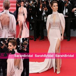 Barato Venda De Vestidos De Baile De Formatura-Cheryl Fernandez Versini Cannes Celebrity Dresses Sexy Summer Evening Gowns para Moda Mulheres Venda Cheap Blush Color Formal Prom Ball Wear