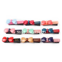 $enCountryForm.capitalKeyWord Canada - Multicolor Hair Clips Bow 20pcs lot Bowknot Shape Top Quality Acylic Plastic Lovely Baby Girls Hairpins Korean Barrettes 2015