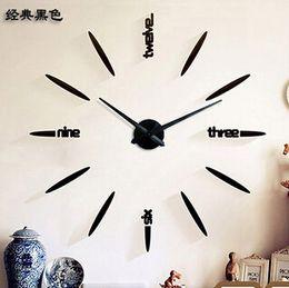 walls watches 2018 - Oversized metallic simple creative wall clock watch DIY wall stickers living room wall clock DIY Art Rocket Clock discou