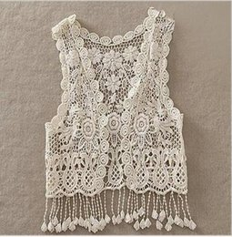 Dentelle Veste Denim Pas Cher-Toddler Kids Baby Girls Crochet Lace Hollow Cardigan Tops Vest Tassel Waistcoat nouveau neige qualith tres