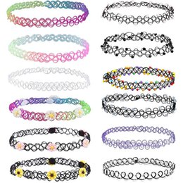 Discount gift tattoos - fashion diamonds flower Tattoo rainbow chokers Necklace Vintage Stretch Elastic Henna Gothic Punk Elastic Women kids jew