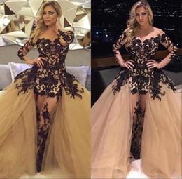 Full Length Robe Soiree NZ - 2018 Arabic Sheer Long Sleeve Black Lace Appliques Champagne Detachable Train Prom Dresses Mermaid Full Length Robe De Soiree Evening Gowns