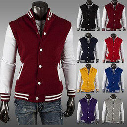 College baseball uniforms online shopping - Hot sales colors Premium Varsity College Letterman Baseball Jacket Uniform Jersey Hoodie Hoody M L XL XXL