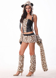 New Sexy Leopard Cat Suits Adult Wolf Costumes With Tail Fancy Cosplay Costume For Women Halloween Party Fur Animals Cats R700 from costume halloween wolf leopard manufacturers