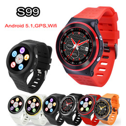 gps wifi smart watch Canada - 3G Android 5.1 Smart Watch Phone Wifi Bluetooth Smartwatch ZGPAX S99 Heart Rate Monitor Quad Core 4GB 1.3GHz HD Camera GPS Sport Watches DHL