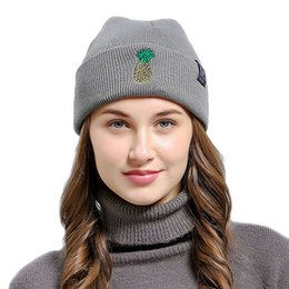 $enCountryForm.capitalKeyWord Australia - Women Men Beanies Caps Embroidered Pineapple High Quality Warm Winter Fall Knitted Hat Cute Design For Girls in Outdoor Cold Weather